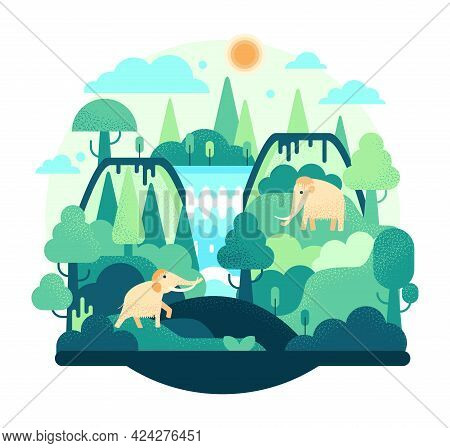 Two Woolly Mammoth Stay In Waterfall In Flat Cartoon Stile - Vector Illustration