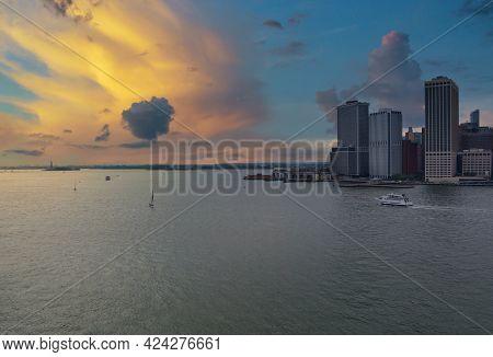Whitehall Ferry Terminal Docks On New York City Manhattan Skyline Panorama The Way From Staten Islan
