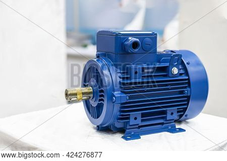 Close Up New Electric 3 Phase Induction Motor For Industrial On Table