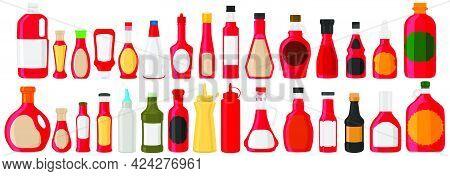 Illustration On Big Kit Varied Glass Bottles Filled Liquid Cranberry Sauce. Bottles Consisting From