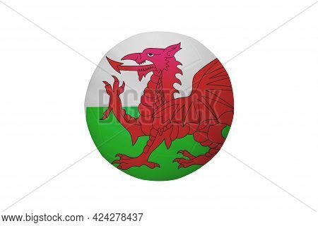 Football In The Colors Of The Wales Flag Isolated On White Background. In A Conceptual Championship