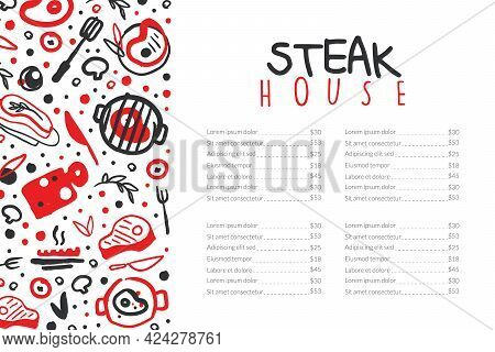 Steak House Menu Template With Meat Products Seamless Pattern And Space For Text , Card, Flyer, Post