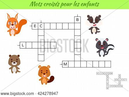Crossword For Kids In French With Pictures Of Animals. Educational Game For Study French Language An