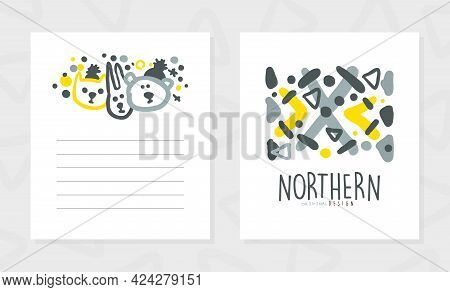 Northern Invitation Card Template Design, Discovery Expedition, Exploration, Outdoor Wilderness Adve