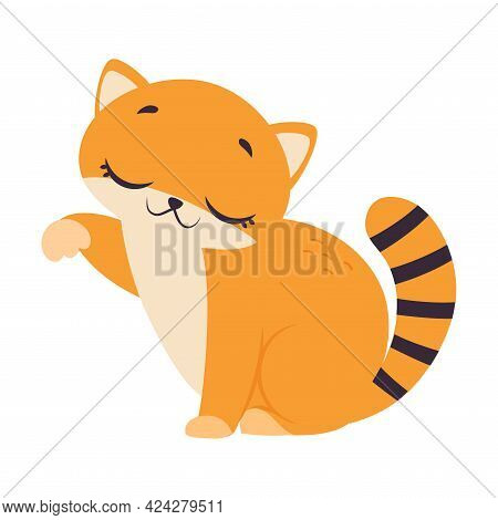 Cute Red Kitten, Adorable Funny Pet Baby Animal Cartoon Vector Illustration