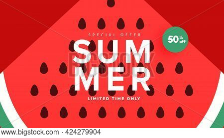 Vector Watermelon Background With Black Seeds. Season Summer Sale Banner, Hot Season Discount Poster