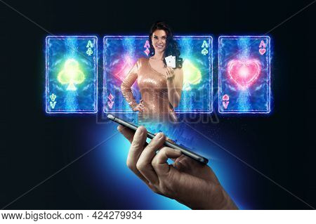 In A Man's Hand A Smartphone With Playing Cards Roulette And Chips,stickman, Beautiful Girl Black-ne