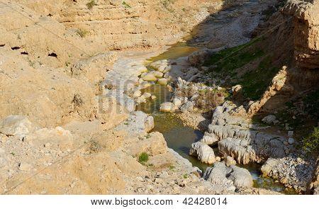 Wadi Qelt oder Nahal Prat Creek in Judean Wüste in der Nähe von jericho