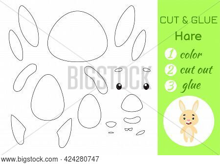 Color, Cut And Glue Paper Little Hare. Cut And Paste Crafts Activity Page. Educational Game For Pres