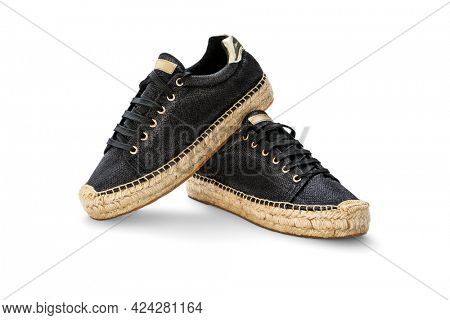 Summer female shoes black espadrilles on a white background, including clipping path