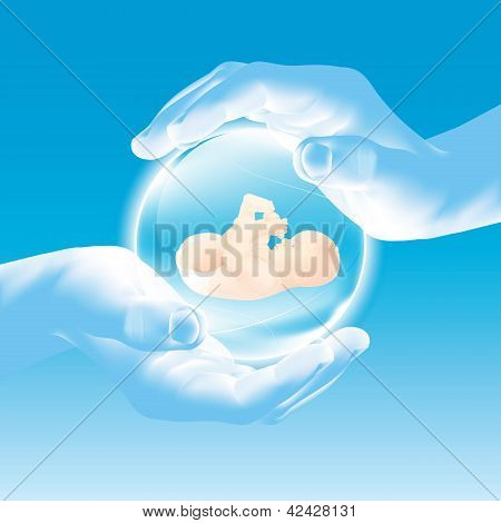 Hands Holding Glass Sphere - Baby - Security And Care - Parenting - Celebrate New Life