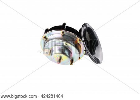 Electric Horn For Car, Snail Shaped Horn, Isolate On White Background, Close-up, Selective Focus