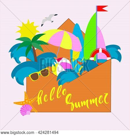 Summer Set. Greetings Summer Greeting Card. Summer Items Set With Flower Ball Bright Umbrella Brown