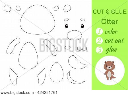 Color, Cut And Glue Paper Little Otter. Cut And Paste Crafts Activity Page. Educational Game For Pre