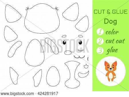 Color, Cut And Glue Paper Little Dog. Cut And Paste Crafts Activity Page. Educational Game For Presc