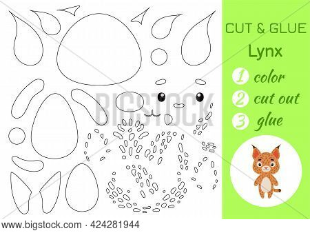 Color, Cut And Glue Paper Little Lynx. Cut And Paste Crafts Activity Page. Educational Game For Pres