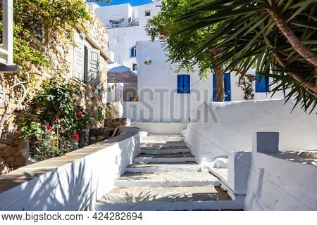 Houses Whitewashed Walls Background Stone Stairs Sunny Day At Sifnos Island, Greece.
