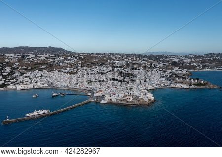 Greece, Mikonos Island, Cyclades. Aerial Drone View. Mikonos Chora Whitewashed Buildings Cityscape,