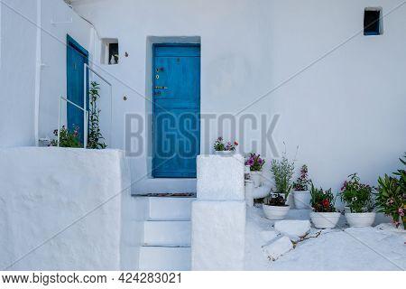 Folegandros Island, Greece, Cyclades. Traditional Whitewashed Building, Kastro.