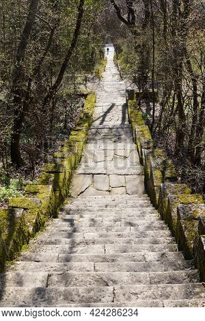 A Stone Staircase, Overgrown With Moss, Leads Down In The Park