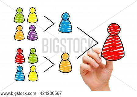 Businessman Drawing Leadership And Teamwork Business Concept. A Leader Is Nothing Without His Team.