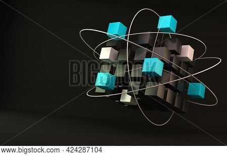 Partner And Teamwork Business Concept With Cubes Structure.networking And Internet Concept.3d  Illus