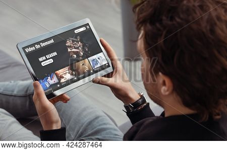 Video On Demand, Movie Streaming, Man With Tablet Using Video Service