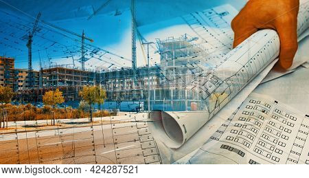 Architect And Blueprint Concept. Engineering And Architecture Design Background.architectural And Ho