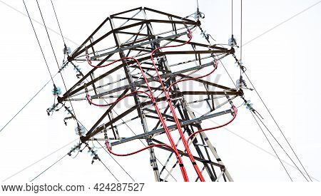 High Voltage Electric Line Pylon Isolated Over White Background.electricity Transmission Pylon