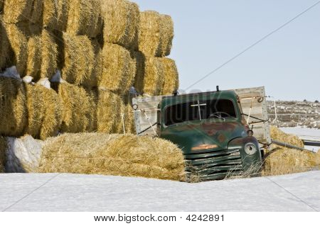 Abandoned Green Farm Truck With Hay - More In Portfolio