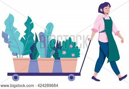 Flat Design Illustration Of Young Florist Bringing Cart Full Of Flowers.