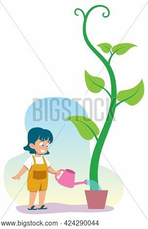 Illustration With Little Girl Watering Green Plant.