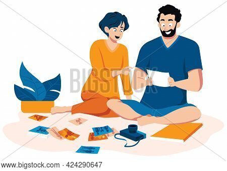 Flat Design Illustration With Couple Looking At Old Printed Family Photos.