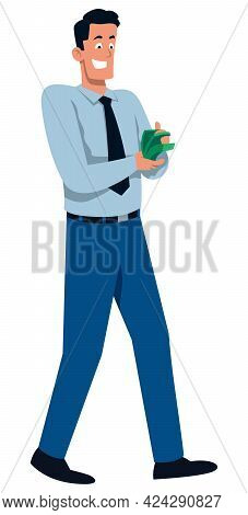 Flat Design Illustration With Man Counting His Money After He Just Got Paid.