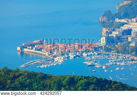 Aerial View Scenery Of Budva Old Town In Montenegro . Popular Summer Resort City Budva On The Adriat