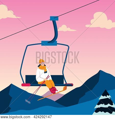 Flat Design Illustration With Young Woman On Ski Lift.