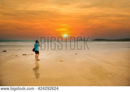 Photographer Taking Thailand Travel Twilight Sky Photography. Man Photographer Shooting With Tripod