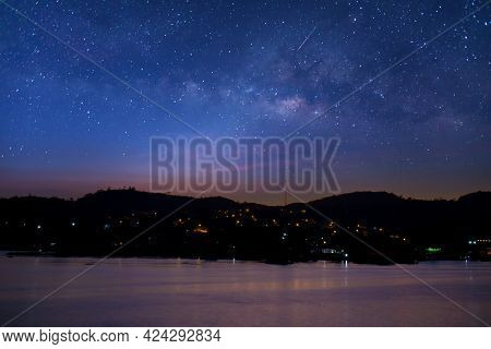 Milky Way Galaxy At Night. Image Contains Noise And Grain Due To High Iso. Image Also Contains Soft