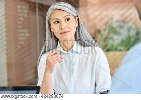 Senior Middle Aged Asian Business Woman Training Listening Young Intern Trainee For Professional Ski