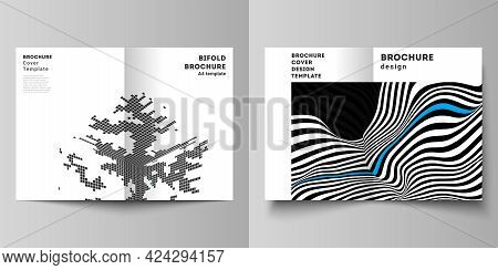 The Vector Layout Of Two A4 Format Modern Cover Mockups Design Templates For Bifold Brochure, Magazi