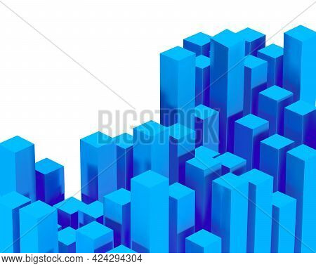 3d Render Vector Composition With Dynamic Blue Color Realistic Geometric Shapes In Motion. Abstract