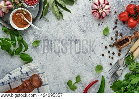 Food Cooking Background. Fresh Saffron, Garlic, Cilantro, Basil, Cherry Tomatoes, Peppers And Olive