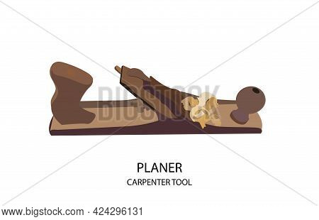Joiners Tool. Wooden Planer On A White Background. An Old Tool For Working With Wood. Shavings.