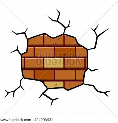 Damaged Brick Wall. Broken Plaster With Cracks. Decoration And Background Element. Detail Of House A
