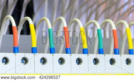 Color Wires In A Box Of Distribution Of An Electricity, Plc Control Panel With Wiring, Lectric Contr