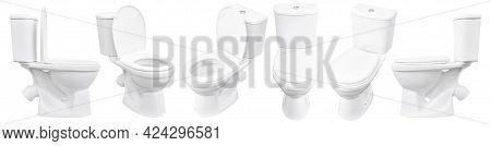 Toilet On White Background. Close Up Of Toilet. White Toilet Bowl Isolated. Set Of Toilet Bowls.