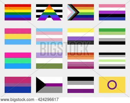 Lgbtq Pride Flags Collection. Sexual Identity Flags Set. Festival Of Sexual Minorities, Gays And Les