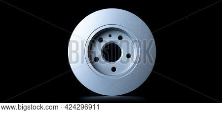 Car Motor Parts. Auto Motor Mechanic Spare Or Automotive Piece On Black Background. New Metal Car Pa