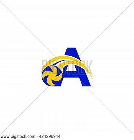 Letter A With Smashing Volley Ball Icon Logo Design Template Illustration