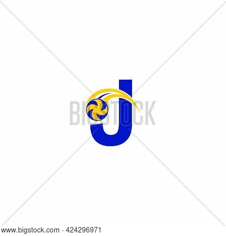 Letter J With Smashing Volley Ball Icon Logo Design Template Illustration